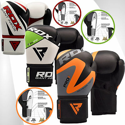 RDX Boxing Gloves Leather Training Kick Sparring Punching Glove Fight Pro Green