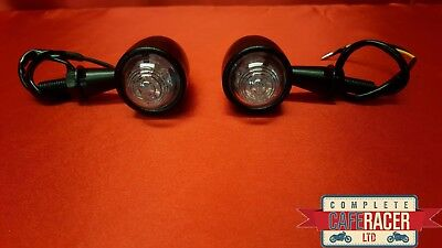 F1 Cafe Racer Indicator Led Matte Black Metal Case With Clear Lense Pair