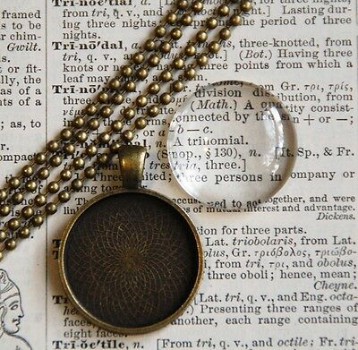 6x DIY round antique bronze pendant kit 25mm,pendant tray, cabochon insert chain