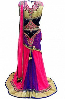 GLC2160 Royal Blue and Hot Pink Girl's Lengha Choli Indian Bollywood Fancy Dress