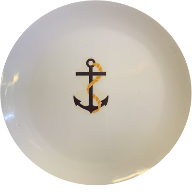 LARGE Set of four 4//individual Anchor white melamine side plate plates