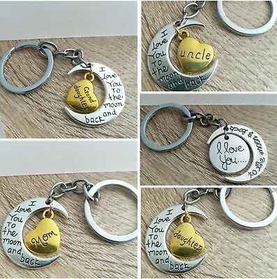 Personalised Moon Pendant Keyring/Necklace Engraved Heart Mom,Dad,Son,Aunt,Uncle