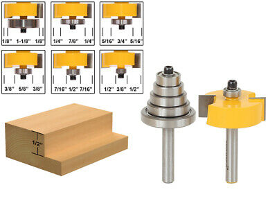 """Rabbet Router Bit with 6 Bearings Set -1/2""""H - 1/4"""" Shank - Yonico 14705q"""