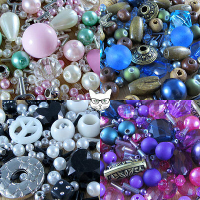300 Beads Mix - Jewellery Making Card & Craft - Acrylic Glass Spacers Charms Lot