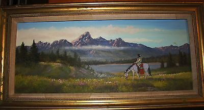 """GRAND ONE oil by Mark Oglei 10"""" x 24"""" one of his sold at Coeur D Alene auction"""