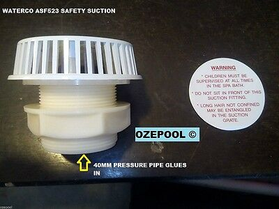 Safety SPA Suction WATERCO, 40mm NB pipe. Thru wall with back nut safety label
