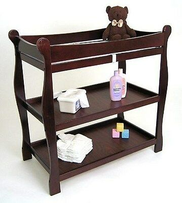 Sleigh Style Wood Infant Baby Changing Table Nursery Furniture Cherry NEW