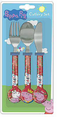 Peppa Pig | Once Fairy Tale | Crown 3pc Mealtime Cutlery Set Knife, Fork & Spoon