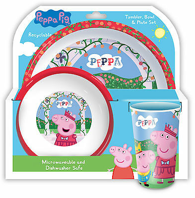 Peppa Pig | Once Fairy Tale | Crown Melamine Tumbler, Bowl & Plate Mealtime Set