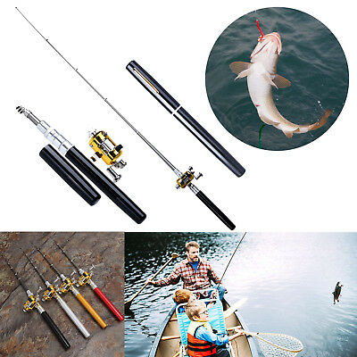 Telescopic Mini Portable Pocket Fish Pen Aluminum Alloy Fishing Rod Pole + Reel