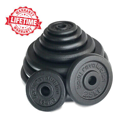 """Cast Iron Weights Plates Discs for 1"""" Dumbbells Barbells Fitness Training"""