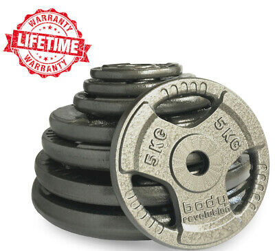 """Tri Grip Cast Iron Weight Plates Barbell Plate 1"""" Dumbbell Weights Plate Disc"""