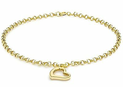 9ct Solid YELLOW GOLD Heart Charm Bracelet UK + FREE Gift