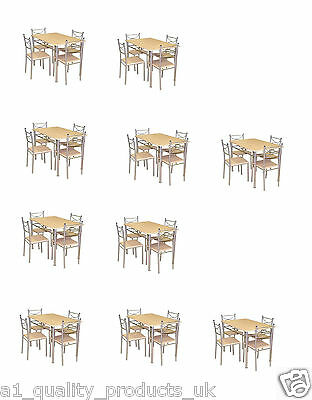 10 x Rialto Dining Sets & 4 Chairs, Breakfast Kitchen Table Pine, Flat Pack BNIB