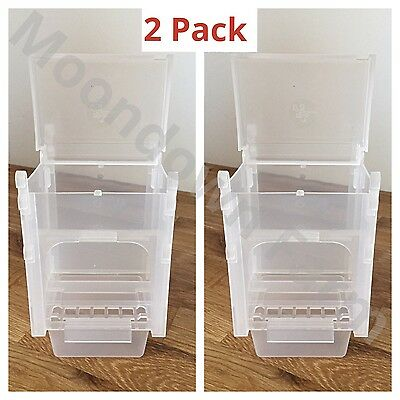 2pk 0.5 Kg SEED HOPPERS FEEDERS PLASTIC FOR AVIARY & CAGE BUDGIE FINCHES CANARY