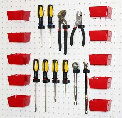 Red Pegboard Bins & Peg Hooks - 20 Pc Set Garage Tool Board Craft Storage,