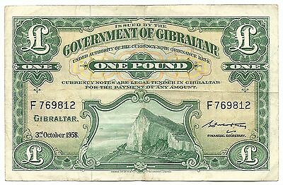 Gibraltar Banknote 1 Pound 1958 P-15c VF Original Paper Money Rare Old Free Post