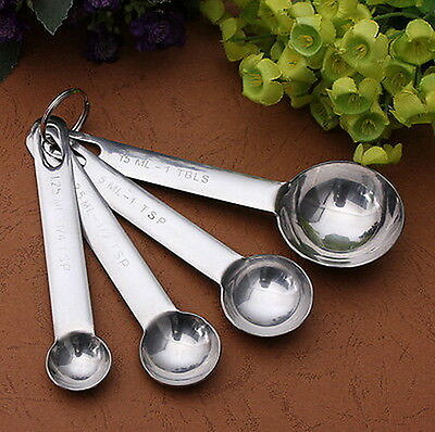 New 4Pcs Measuring Spoons Set Stainless Steel Tea&coffee Measure Scoop New ^i^