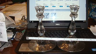 Sterling Silver overlay on EAPG Pressed Glass Candlesticks - Pair