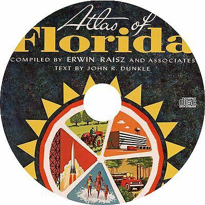 Atlas of Florida {1964} FL History Maps Cartography Book on CD