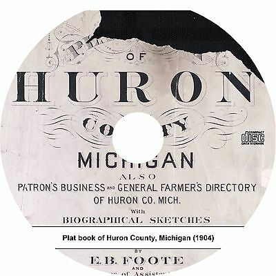 Plat Book of Huron County, Michigan {1904} MI Atlas Maps History Book on CD