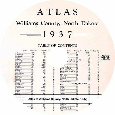 Williams County North Dakota ND Atlas {1937} History Genealogy Maps Book on CD