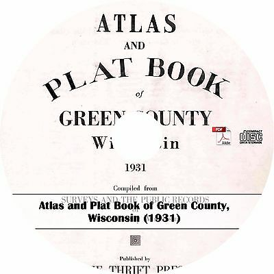 1931 Green County, Wisconsin Atlas & Plat Book ~ History Genealogy Maps on CD