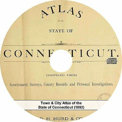 Town & City Atlas of the State of Connecticut {1893} Maps Book on CD