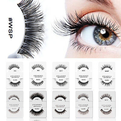 Natural Long Black Handmade 5 Styles Thick Makeup Fake Eyelashes False Lashes