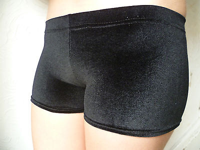NEW Black velvet velour gymnastic hipster shorts ALL SIZES fast postage