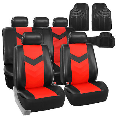 Faux Leather Car Seat Covers For Auto Red W Heavy Duty Floor Mats
