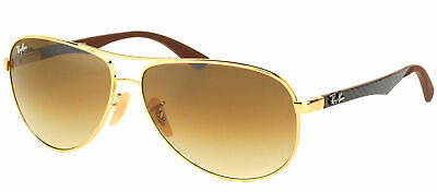 Authentic Ray Ban RB8313 Aviator 001/51 Gold Sunglasses Brown Gradient Lens 61mm