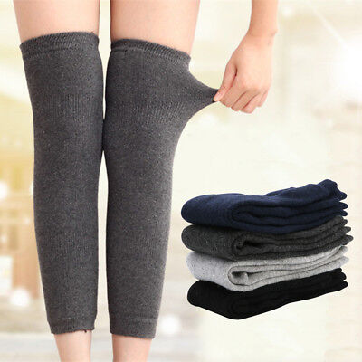 Chic Women Men Warm Cashmere Wool Knee Warmers Leg Thigh High Socks Pad Legging