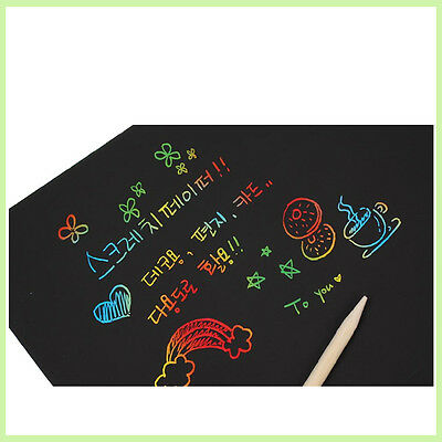 5Sheet 16K Colorful Scratch Art Paper Kid Toy Magic Painting Paper Drawing Stick