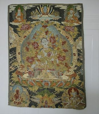 "23"" Collectibles Decorate Tibetan Silk Inwrought Thangka Drawing White tara NO"