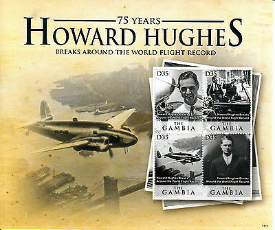 Gambia 2013 MNH Howard Hughes 75 Yrs Around World Record 4v M/S Aviation Stamps