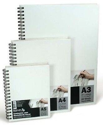 Reeves Hardback Cover Sketch Book - Spiral Bound - Canvas Covered - A5, A4 or A3