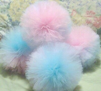 Handmade Gender Reveal or solid color tulle party poms. Handsewn and woven poms