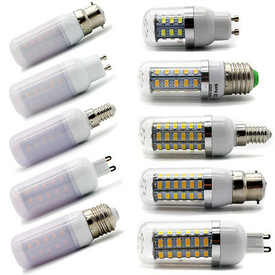 5730 SMD E27 B22 GU10 G9 E14 LED Corn Bulbs Lamps Light Warm Cool Natural White