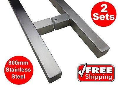 2 X 800mm ENTRANCE DOOR HANDLE PULL SET SQUARE STAINLESS STEEL LONG SATIN ENTRY