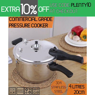Commercial Grade Stainless Steel Pressure Cooker 4.0L (20cm)  1 Year Warranty