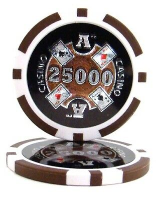 100 Brown $25000 Ace Casino 14g Clay Poker Chips New - Buy 2, Get 1 Free