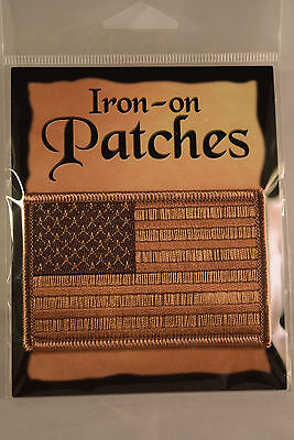 American Flag Embroidered Patch Iron-on US Flag Desert Brown Tan MADE IN USA NEW