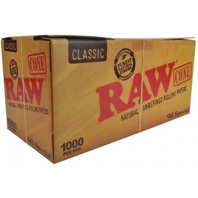 RAW Prerolled CONES 1000 ct Natural Classic Rolling Papers w Tips 98mm Special