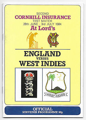 1984 - England v West Indies, 2nd Test (Lord's) Match Programme.
