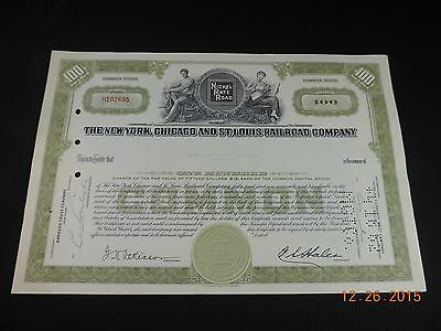 New York, Chicago and St. Louis Railroad Company Stock Certificate from the 60's