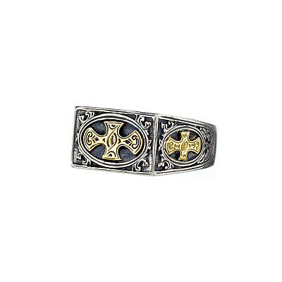 Gerochristo: Silver and 18k Solid Gold Handmade Byzantine Cross Ring
