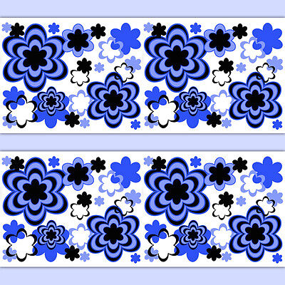 Floral Wallpaper Border Wall Art Decal Royal Blue Abstract Modern Stickers Decor