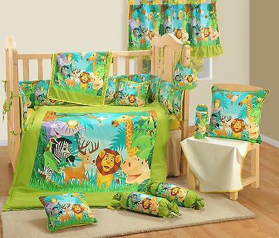 9 Pcs Digital Printed JUNGLE NURSERY Cotton BABY COT SET Bumper Quilt + Cover