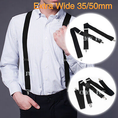 Unisex Men Adjustable Suspenders Braces Elastic Wedding 35/50mm width 130cm long